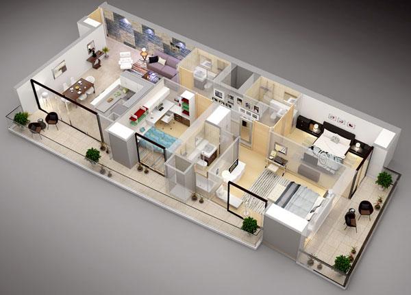 Thiết kế nội thất 3 phòng ngủ có 2 ban công lớn