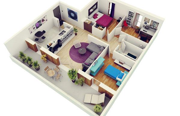 Thiết kế nội thất căn hộ 3 phòng ngủ hiện đại