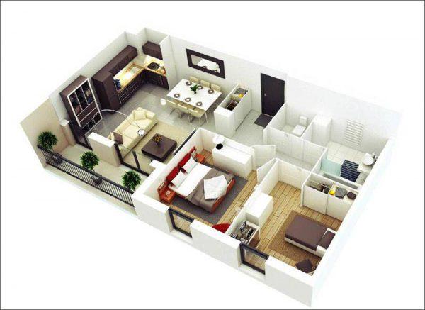 Thiết kế nội thất căn hộ 56m2 2 phòng ngủ tạo không gian chung