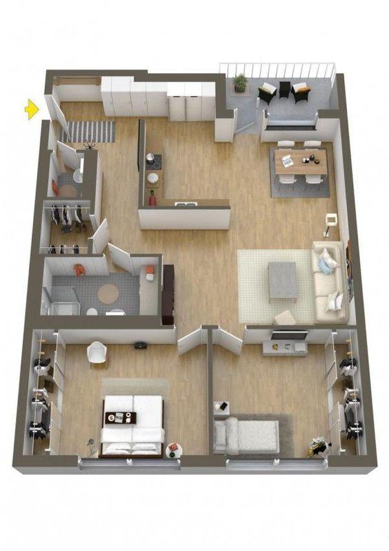 Thiết kế nội thất căn hộ 65m2 2 phòng ngủ hiện đại