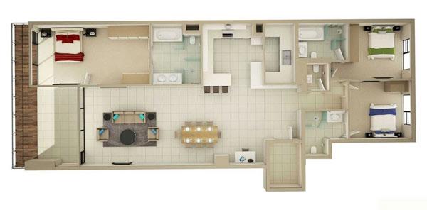 Thiết kế nội thất chung cư 3 phòng ngủ đơn giản nhưng hiện đại