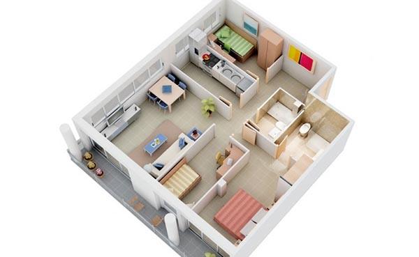 Thiết kế nội thất chung cư 3 phòng ngủ với nội thất đơn giản