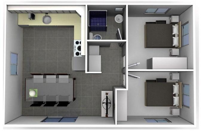 Thiết kế nội thất chung cư 50m2 2 phòng ngủ vuông góc