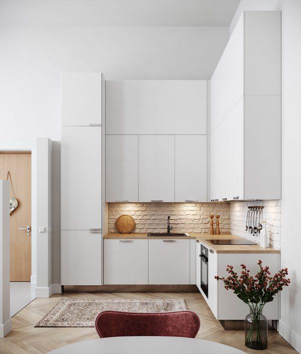 Thiết kế nhà bếp nhỏ đơn giản với tông màu trắng và được thiết kế rất gọn gàng và lịch sự