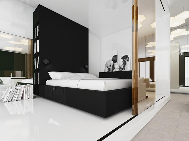 Trang trí phòng ngủ đẹp đơn giản cho nam với 2 màu đen - trắng