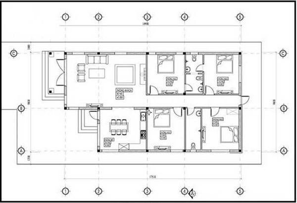 Bản thiết kế mẫu nhà cấp 4 4 phòng ngủ hiện đại