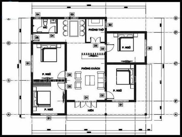 Bản vẽ mẫu nhà cấp 4 4 phòng ngủ cổ điển