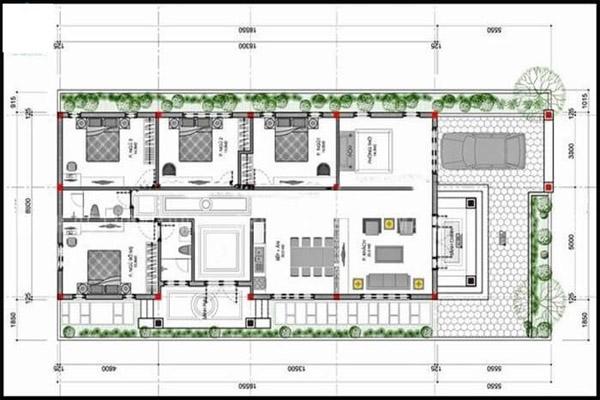 Bản vẽ mẫu nhà cấp 4 4 phòng ngủ kiểu nhà ống