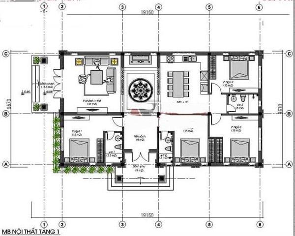 Bản vẽ nhà cấp 4 mái thái 4 phòng ngủ