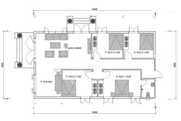 Bản vẽ nhà trệt 4 phòng ngủ đơn giản, sang trọng