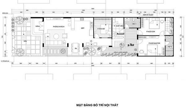 Mặt bằng bố trí nội thất nhà 4 phòng ngủ mái bằng