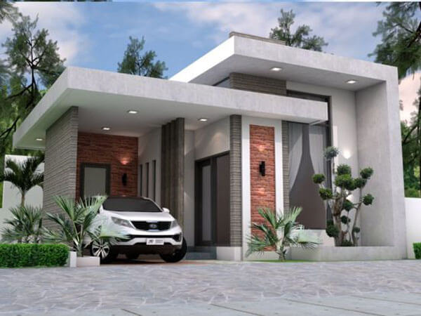 Mẫu thiết kế nhà mái bằng đẹp có chỗ để xe hơi