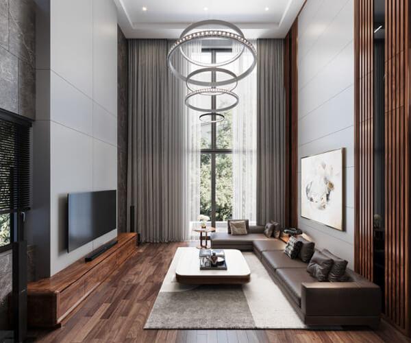 Mẫu phòng khách nhà ống với nội thất gỗ