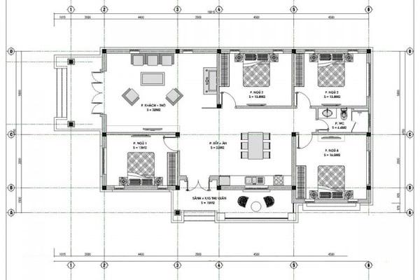 Mẫu thiết kế nhà cấp 4 nhà 4 phòng ngủ 2 mặt tiền