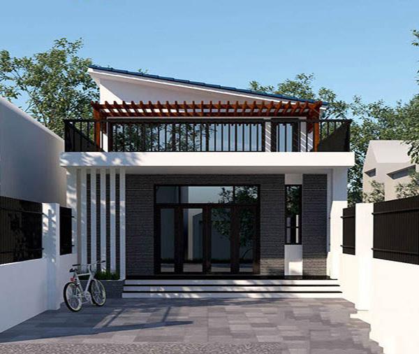Mẫu thiết kế nhà mái xéo đơn giản