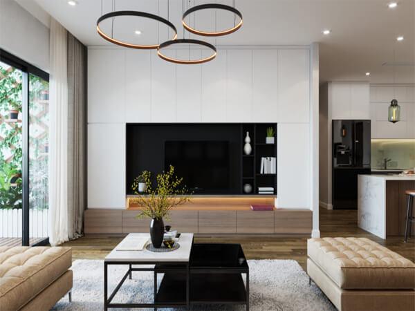 Mẫu thiết kế nội thất chung cư 90m2 hiện đại