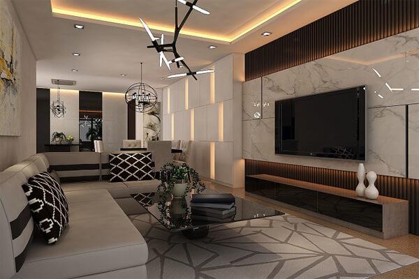 Mẫu thiết kế nội thất chung cư 90m2 luxury
