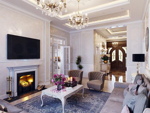 Mẫu thiết kế nội thất chung cư 90m2 tân cổ điển