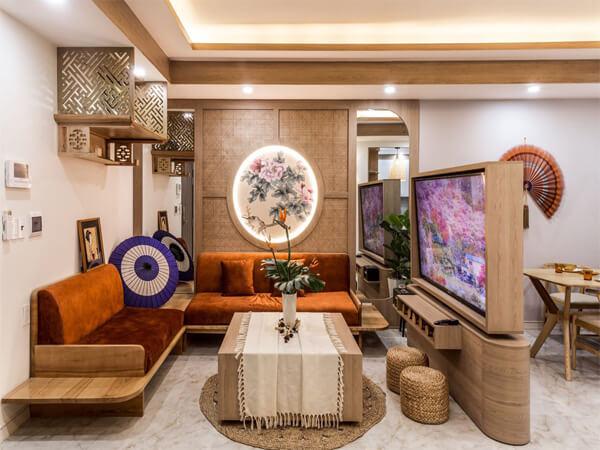 Mẫu thiết kế nội thất chung cư 90m2 theo phong cách Á Đông