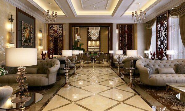 Mẫu thiết kế nội thất phòng khách theo hướng cổ điển