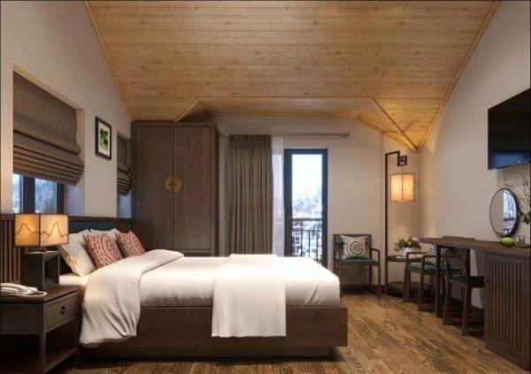 Mẫu thiết kế phòng ngủ khách sạn nhỏ bằng gỗ
