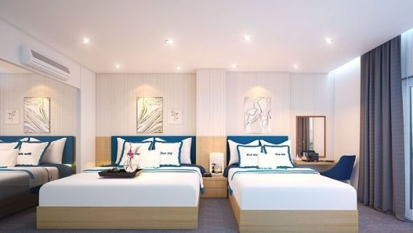 Mẫu trang trí khách sạn 2 giường mini