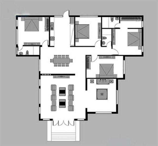 Những mẫu nhà cấp 4 chữ L 4 phòng ngủ