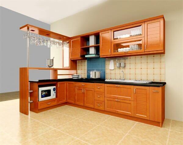 Mẫu quầy bar bếp đơn giản bằng gỗ hiện đại