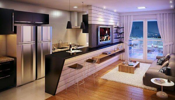 Quầy bar ngắn cách bếp và phòng khách